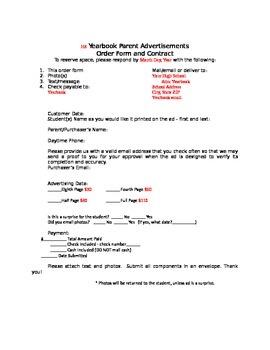 Yearbook Senior Parent Advertisement Information & Order Form *EDITABLE*