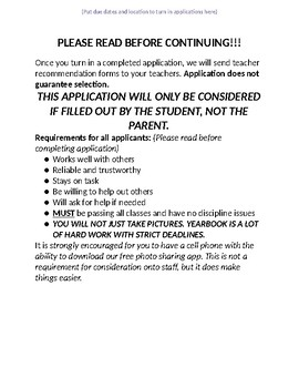 Yearbook Staff Application - High School (EDITABLE)