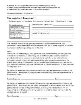 Yearbook Staff Class Guidelines & Expectations -and- Quarterly Assessment Tool