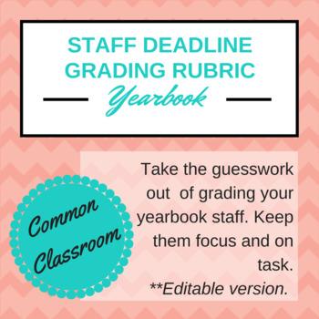 Yearbook Staff Deadline Grading Rubric (EDITABLE!)