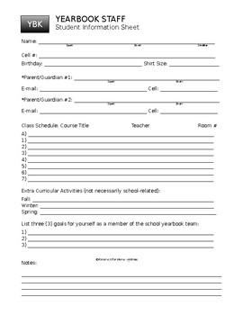 Yearbook Staff Information Sheet