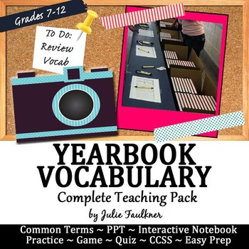 Yearbook Vocabulary Teaching Pack, PPT, Interactive Notebook, Game, Quiz