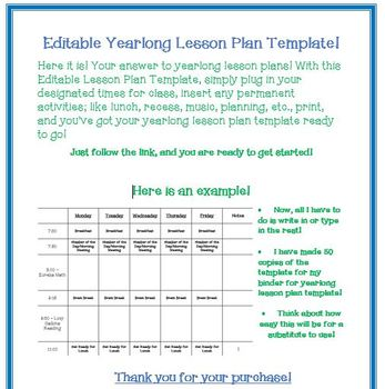 Yearlong **Editable Lesson Plan Template