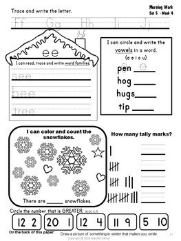 Kindergarten Morning Work Math and Literacy Bundle
