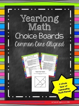 Common Core Math Cafe Choice Boards
