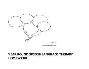 Yearlong Speech/Language Therapy Homework