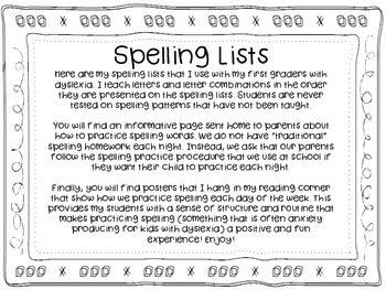 Yearlong Spelling Lists, Posters, and Visual Supports for Emerging Readers