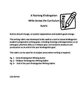 Yearlong Write Across the Curriculum Kindergarten Rubrics