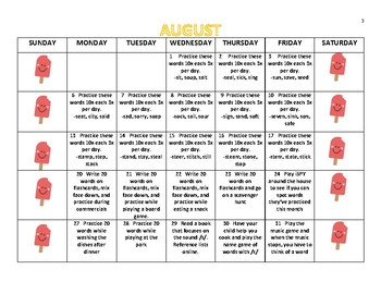 Yearly Articulation Homework Calendar 2018-2019 /s, z/  Word to Phrase Levels