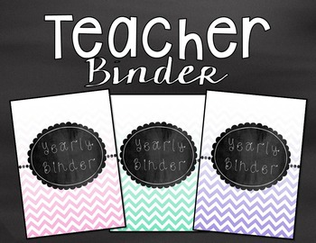 Teacher Binder- Chalkboard and Chevron Theme