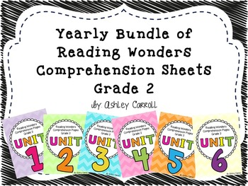 Reading Wonders Comprehension Pages Grade 2 Yearly Bundle