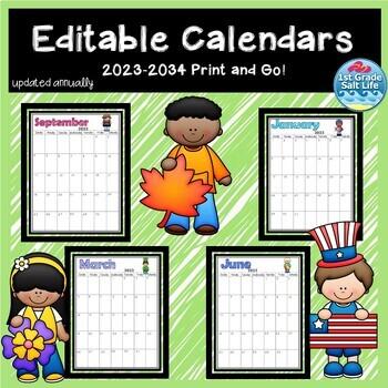 Yearly Calendar / Editable Calendar / Monthly Calendar  *L