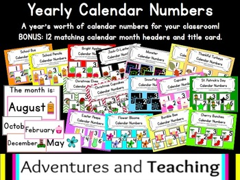 Yearly Calendar Numbers Set {16 options}