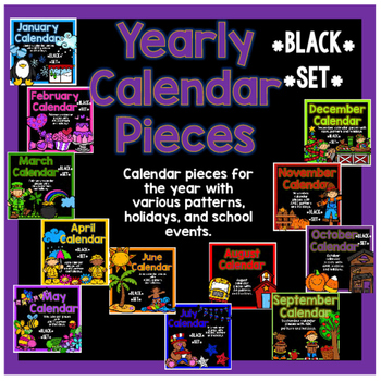 Yearly Calendar Pieces - Black Set