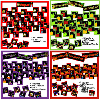 Yearly Calendar Pieces - Black Set