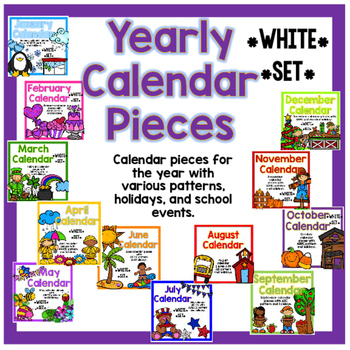 Yearly Calendar Pieces - White Set