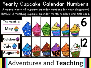 Yearly Cupcake Calendar Numbers