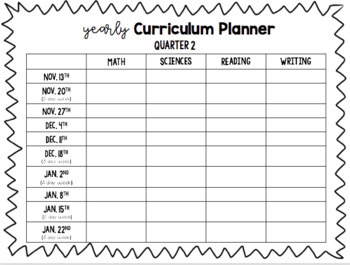 Yearly Curriculum Planner {EDITABLE and FREEBIE!}