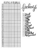 Yearly Feelings Chart for Kid Bullet Journal