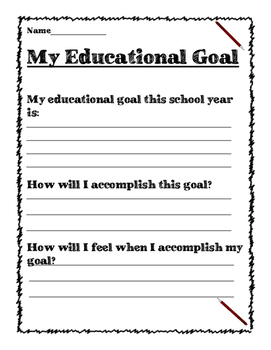 Yearly Goal Sheet