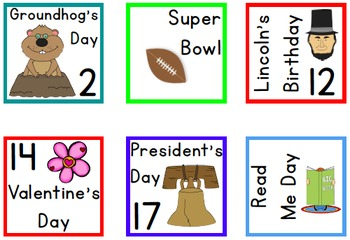 Yearly Holidays Calendar Numbers Set {Holiday Calendar Cards}