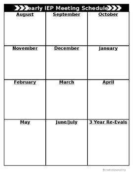 Yearly IEP Meeting Schedule
