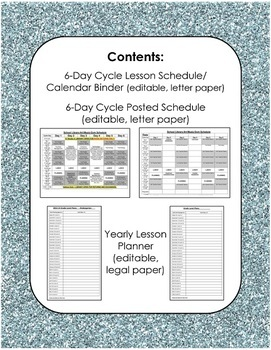 Yearly Lesson Planner and Schedule Calendar for Specialists