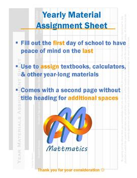 Yearly Material Assignment Sheet