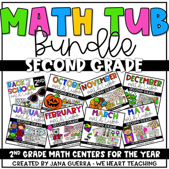 Yearly Math Tub Bundle- SECOND GRADE