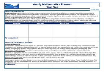 Yearly Mathematics Planners - Year Five to Year Seven