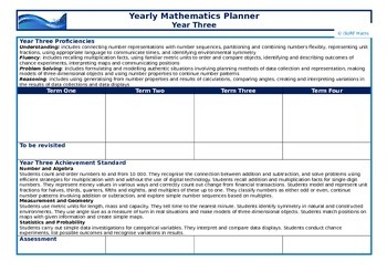 Yearly Mathematics Planners - Year Three & Year Four