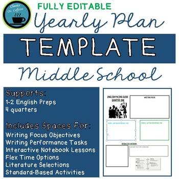 Yearly Plan Template: Middle School ELA, Fully Editable