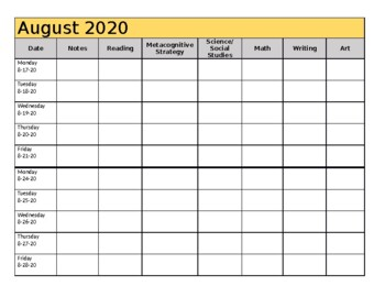 Yearly Planning Template (Pacing Guide) - 2019-2020