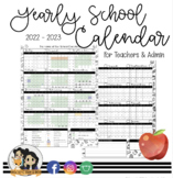 Yearly School Calendar | For Teachers and Admin | Editable w/ FREE updates