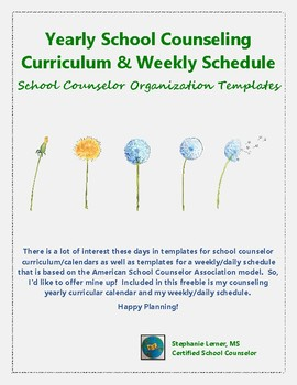 Yearly School Counseling Curriculum and Weekly Schedule