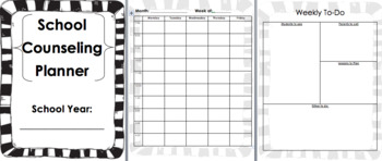 Yearly School Counseling Planner-BW and Color Options