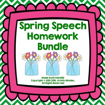 Yearly Speech Homework Bundle