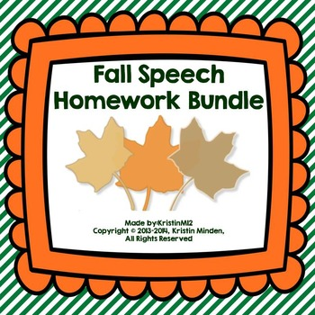 Yearly Speech Homework Bundle