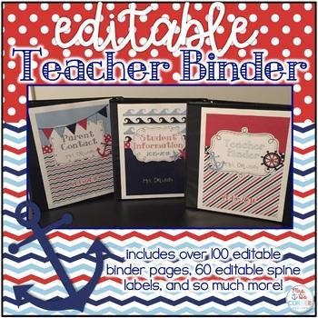 Editable Teacher Binder { Navy & Red Nautical Themed } Teacher Survivor Guide