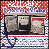 Editable Teacher Binder { Navy & Red Nautical Themed } Tea