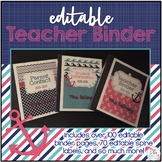 Editable Teacher Binder { Pink & Aqua Nautical } Ultimate