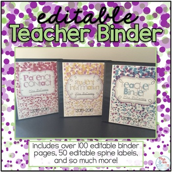 Editable Teacher Binder { Ribbons and Dots } - Ultimate Teacher Survival Guide