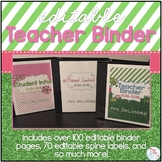 Editable Teacher Binder { Frog Theme } - Ultimate Teacher