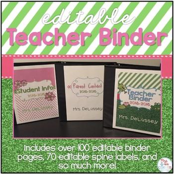 Editable Teacher Binder { Frog Theme } - Ultimate Teacher