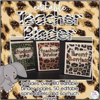Editable Teacher Binder { Jungle / Zoo } Ultimate Teacher Survival Guide