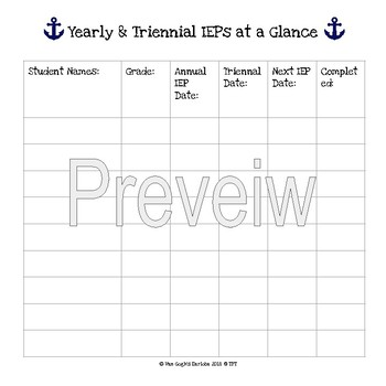 FREEBIE: Yearly & Triennial IEPs at a Glance Template