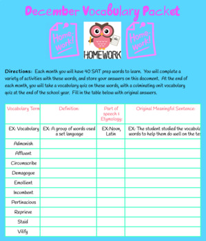 Yearly Vocabulary Practice and Quizzes For Middle School & Answer Key