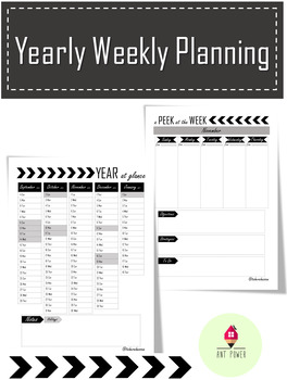 Yearly Weekly Planner (updated months Sep-Jan 2018) ~ Editable