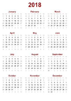 Yearly calendar for 2018.