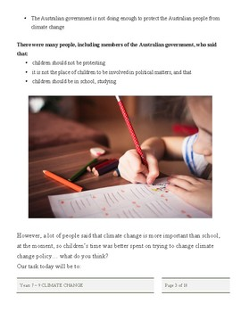Years 7 - 9 high school climate change homeschool debate project